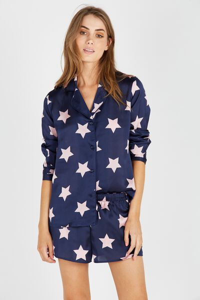 Long Sleeve Satin Sleep Shirt, NAVY STAR