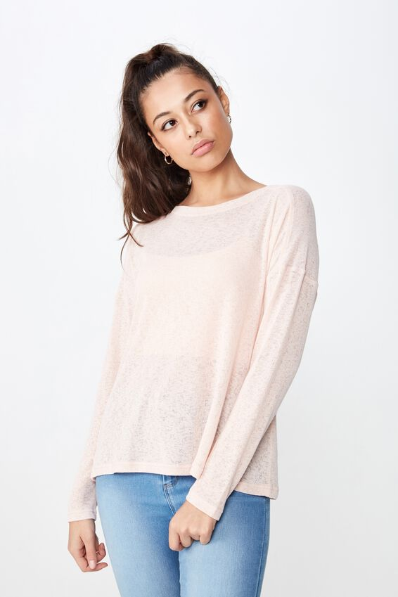 Naomi Long Sleeve Light Weight Top, DIVINE PINK