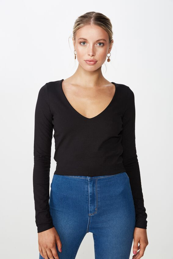 Long Sleeve V Neck Crop Top, BLACK