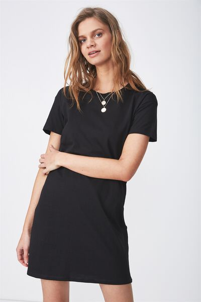 The Tee Dress, BLACK