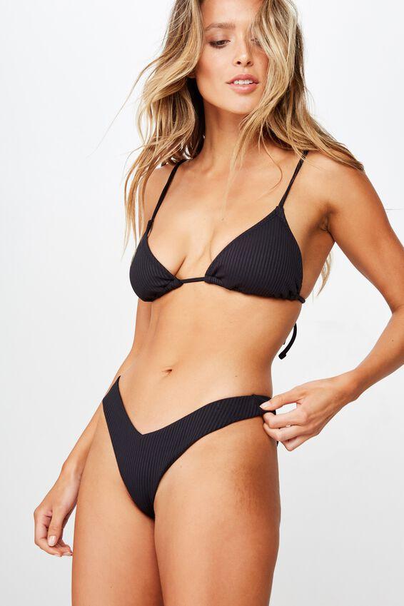 Byron V Front Bikini Bottom, BLACK RIB