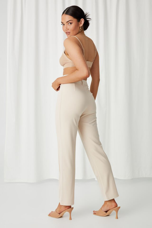 Angelina Tri Knit Bralette Top, ALMOND
