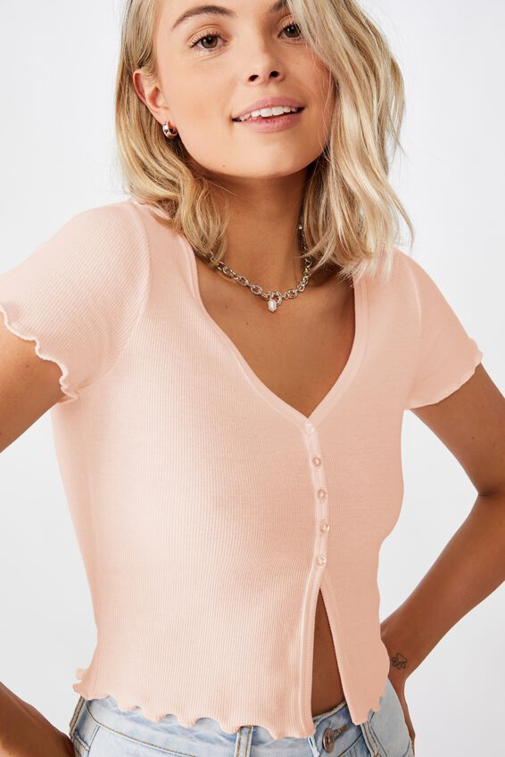 Bria Short Sleeve Button Up Tee, FAIRYTALE PINK
