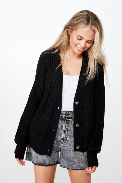 Sammie Light Weight Cardigan, BLACK