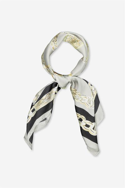 Satin Scarf, TAUPE GOLD CHAIN
