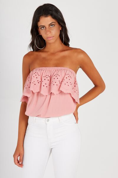 Broderie Strapless Top, BLUSH
