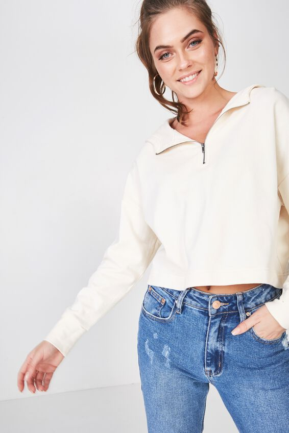 Zoe Long Sleeve Crop Hoodie, CREAM PUFF
