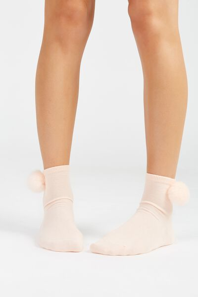 Faux Fur Pom Pom Socks, BLUSH