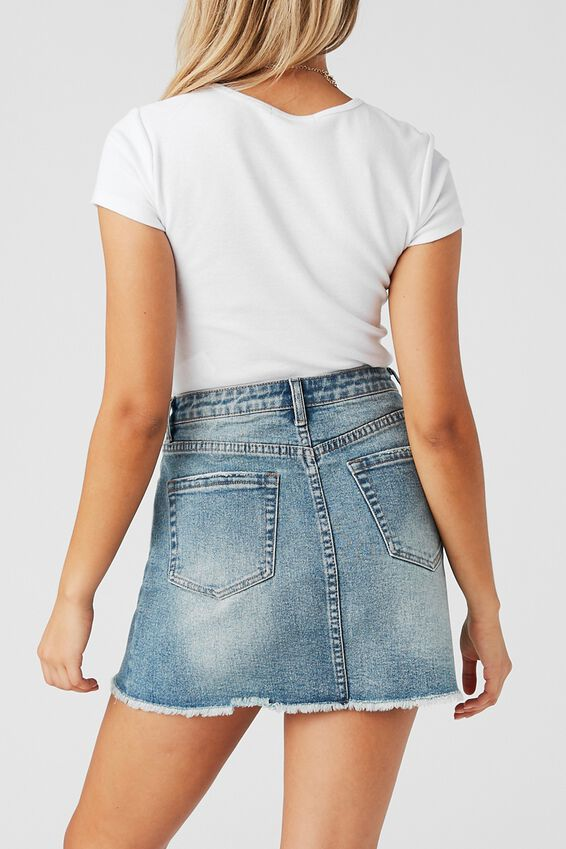 Rachel Stretch Denim Mini Skirt, CUBAN BLUE