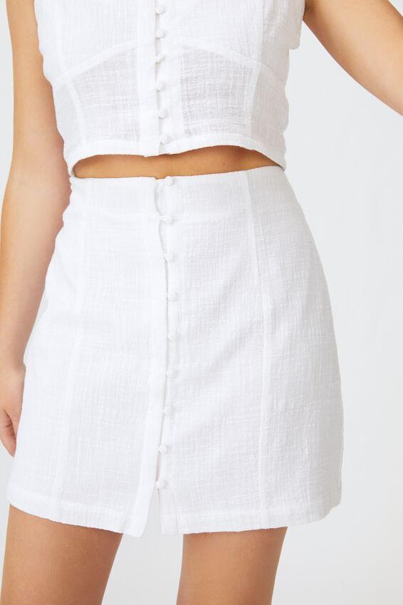 Jessie Button Through Mini Skirt, WHITE