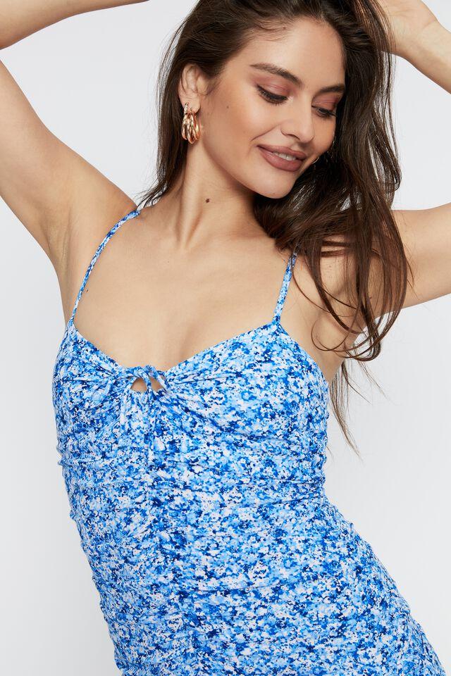 Kora Ruched Tie Front Mini Dress, ARIELLA SAPPHIRE