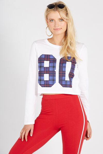 Printed Long Sleeve Loose Crop, WHITE/80s CHECK