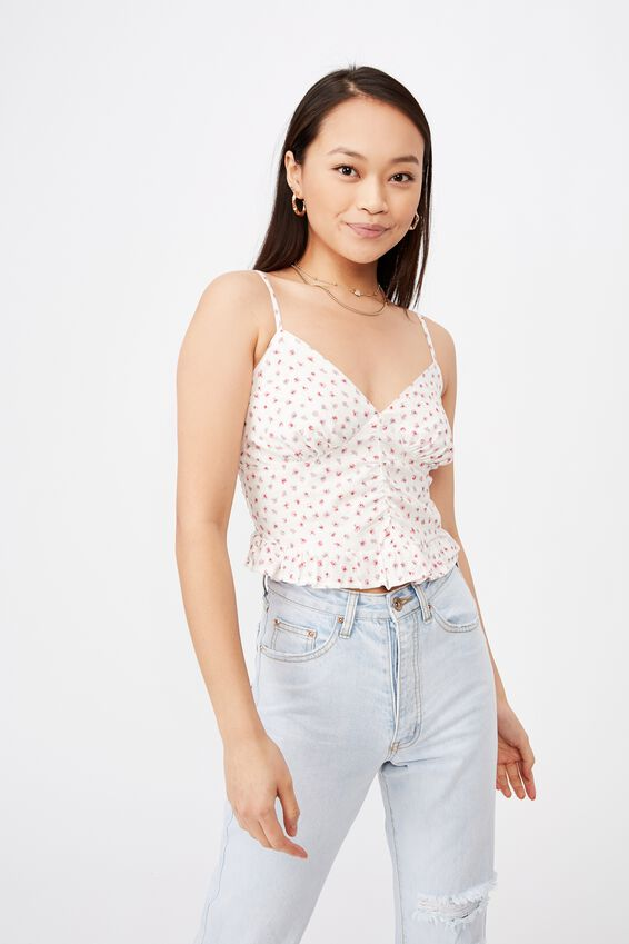 Kiana Bustier Ruched Top, LORNA FLORAL WHITE