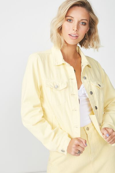 Cut Off Denim Jacket, LEMON SHERBET