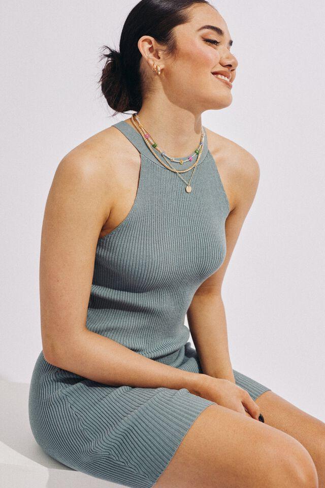 Helena Knit Mini Dress, SOFT SAGE