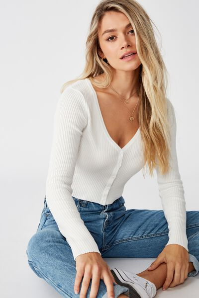 Olive Long Sleeve V Neck Cardi Knit, WHITE