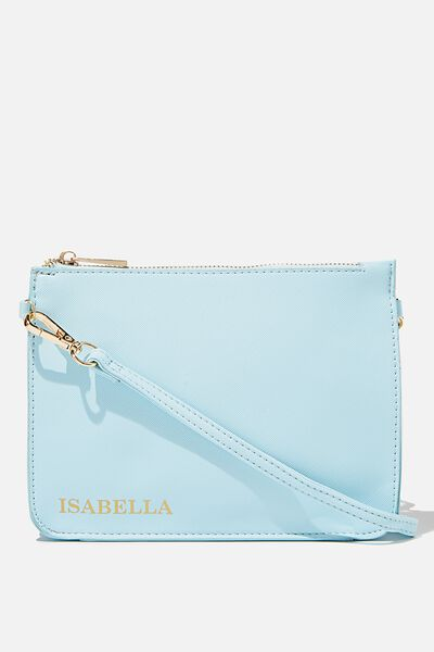 Personalised Jenna Clutch, BABY BLUE TEXTURE