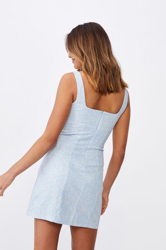 Capri Fitted Square Neck Mini Dress, STELLA FLORAL SOFT BLUE