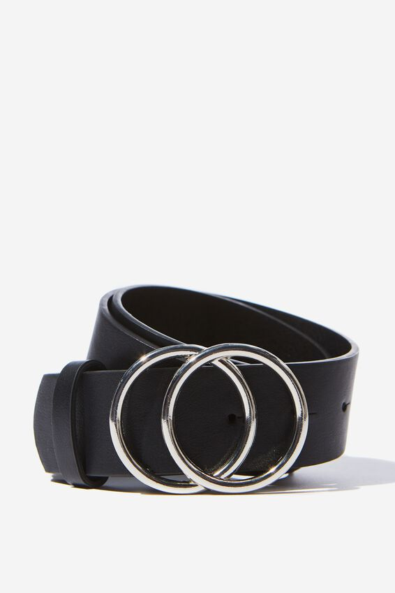 Super Size Double Hoop Belt, BLACK SILVER