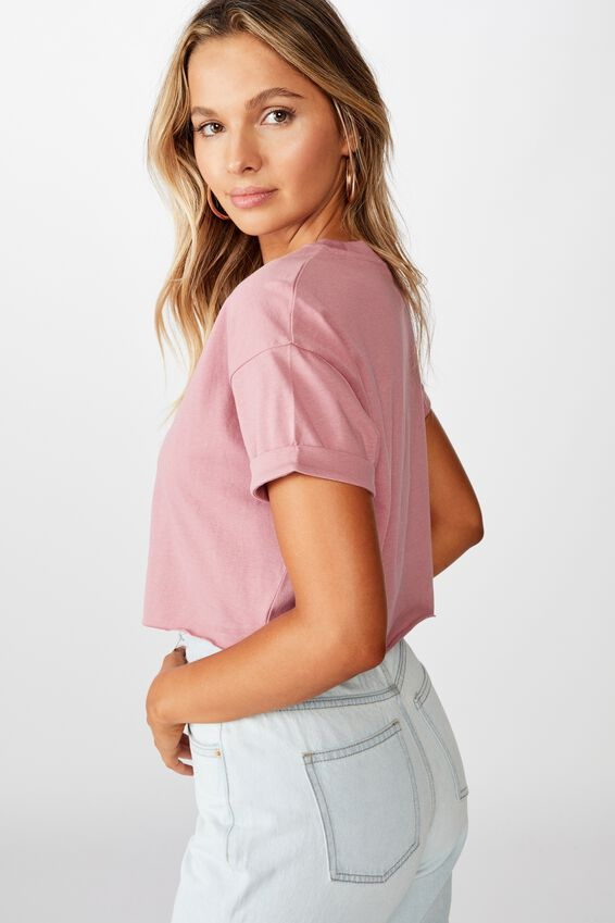 Tamara Printed Crop T Shirt, PINK ROUGE STAR HAND