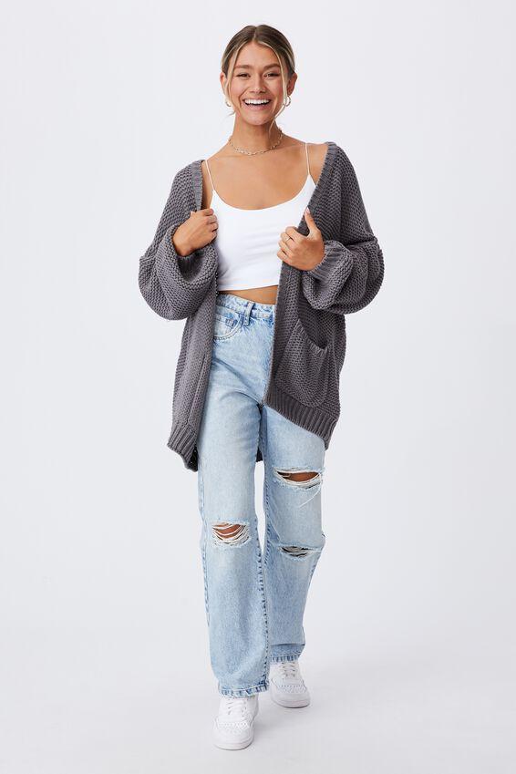 Georgie Oversized Cardigan, CEMENT GREY