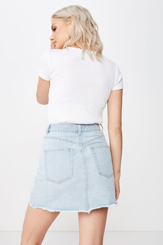 The Blair Aline Denim Skirt, ICY BLUE RIP