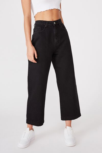 Wide Leg Jean, WASHED BLACK