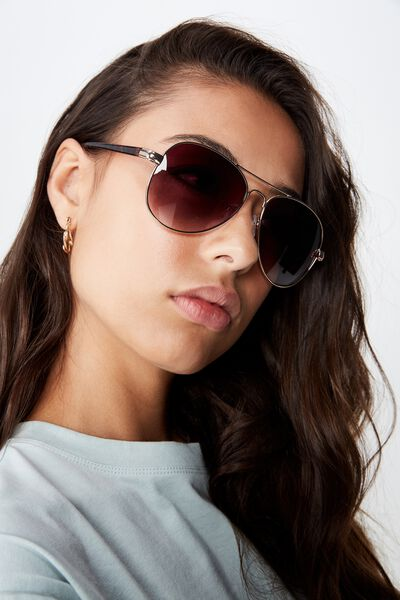 Bella Aviator Sunglasses, GOLD/SMOKE