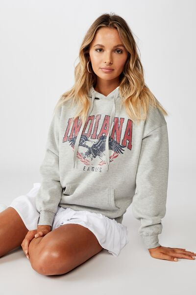Sage Graphic Hooded Sweat, GREY MARLE/INDIANA EAGLES