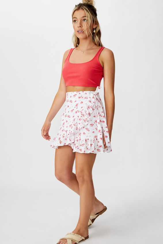 Ari Rib Crop Top, HIBISCUS RED