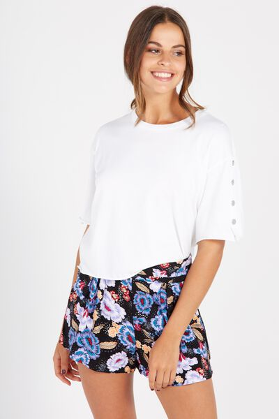 Pleat Waist Short, BLUE BLOOM