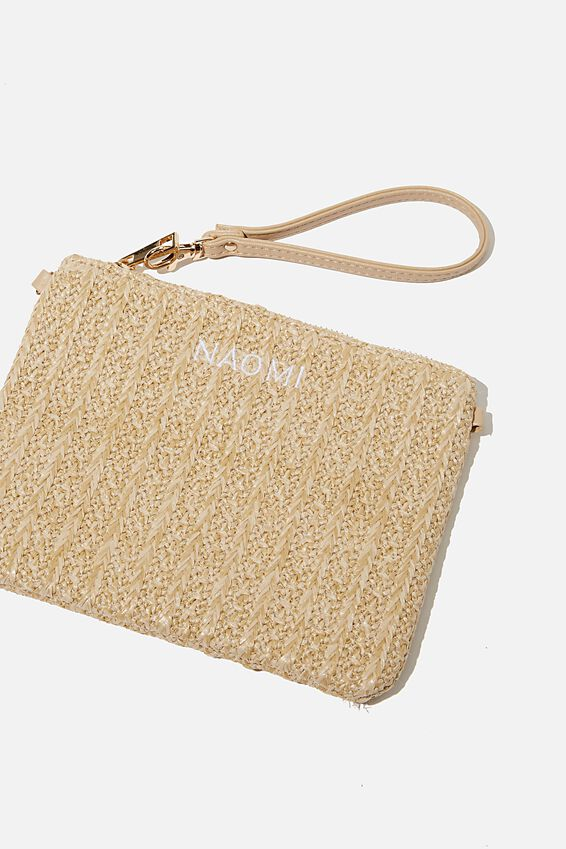 Personalised Sofia Zip Pouch, NATURAL TEXTURE