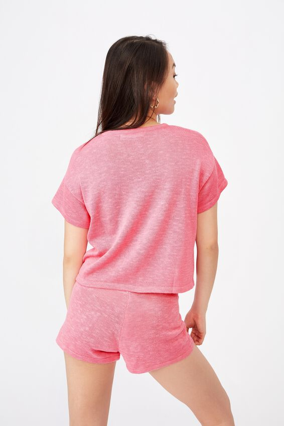 Brittany Tee Knit Co Ord, PUNCH PINK