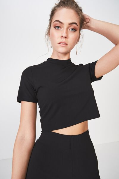 Party Crepe Fitted Tee, BLACK