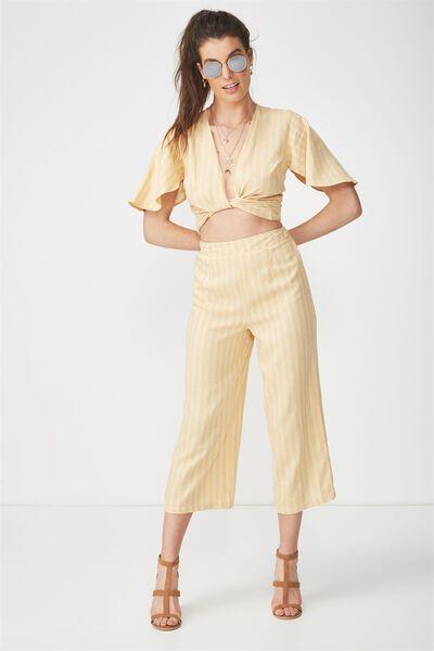 Crop Wide Leg Linen Blend Pant, HONEY STRIPE
