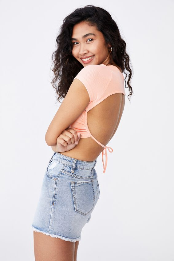 Victoria Backless Short Sleeve Top, PINK FLOSS