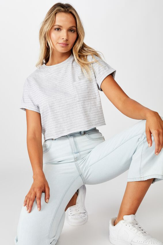 Ciara Crop T-Shirt, SMALL DOUBLE STRIPE  GRY MRL WHT