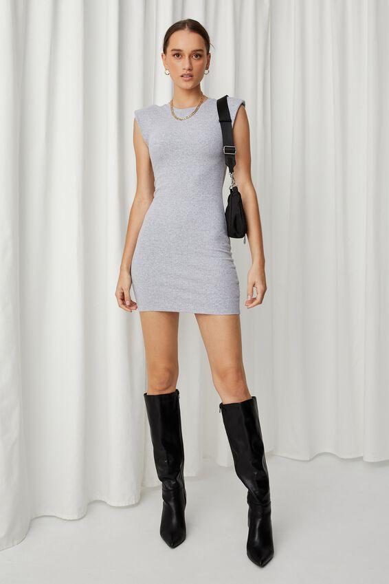 Tilda Padded Mini Dress, GREY MARLE