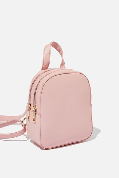 Double Zip Pu Backpack, DUSK PINK