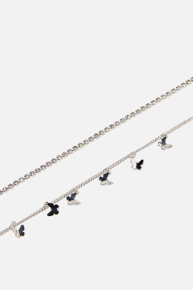 Butterfly Choker Necklace, SILVER