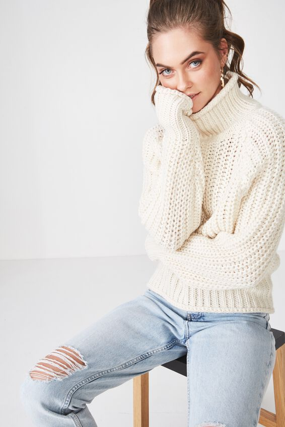 Lily Long Sleeve High Neck Knit, CREAM PUFF