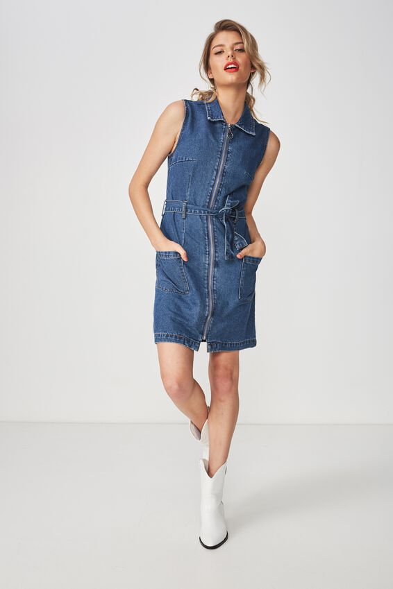The Zip Thru Denim Dress, INDIGO BLUE