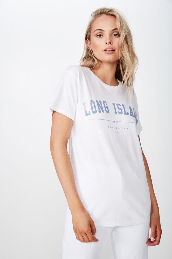 Lola Printed Longline Tee, WHITE/LONG ISLAND