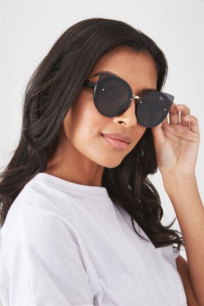 Lana Round Catty Sunglasses, BLACK