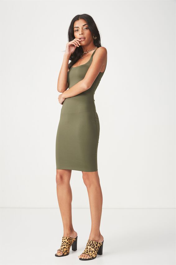 Party Scoop Neck Midi Dress, KHAKI