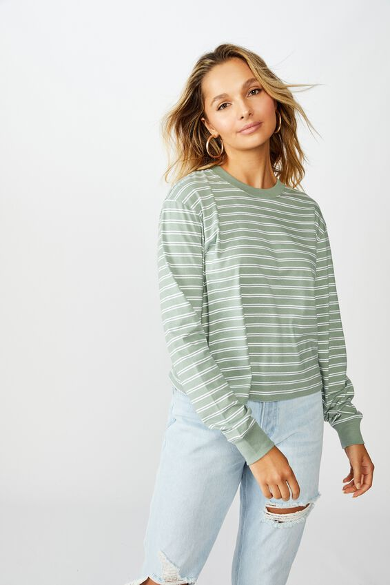 Teri Long Sleeve Crew Neck Top, DOUBLE STRIPE(DP SG/WHT)