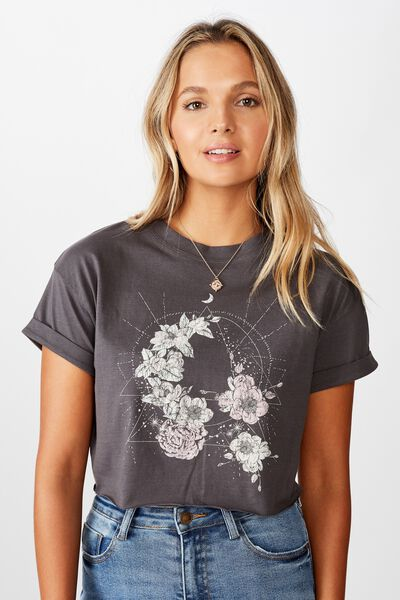 Tamara Graphic Crop Tee, GRANITE GREY/FLORAL GEO ASTROLOGY