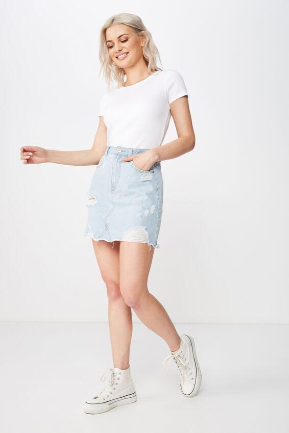 The Blair Aline Denim Skirt, ICY BLUE RIP