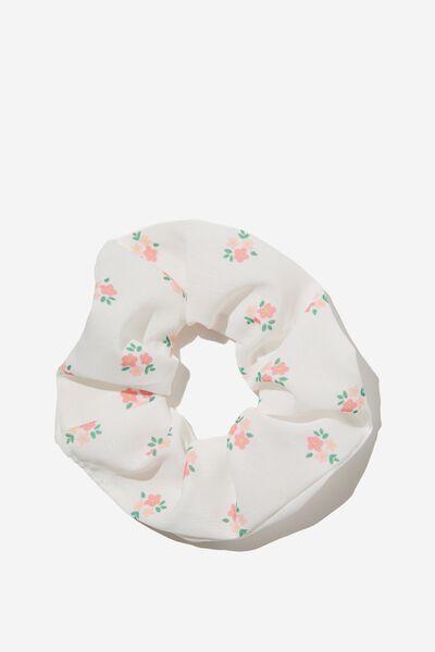 Flynn Floral Scrunchie, WHITE
