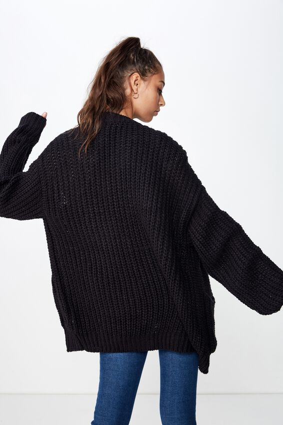 Grace Oversized Cardigan, BLACK